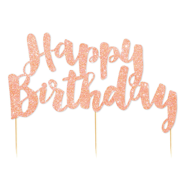 """Happy Birthday"" Rose Gold Glitter Cake Topper - 1 Pce - Illume Partyware"