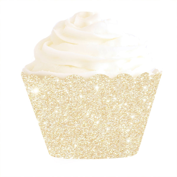 Gold Glitter Cupcake Wrapper - Pack of 12 - Illume Partyware
