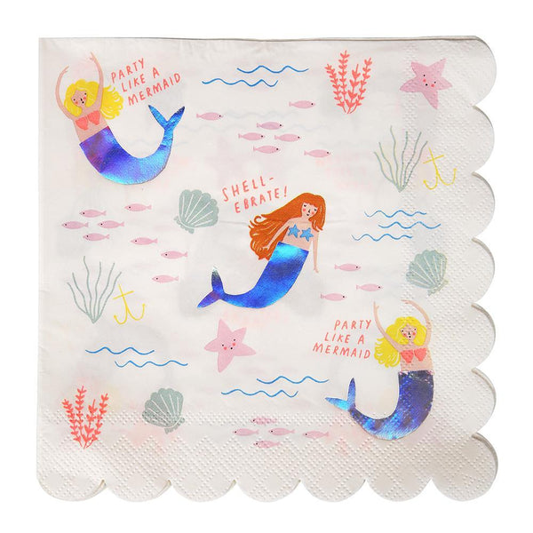 Mermaid Napkins (large) - Pack of 16 - Meri Meri