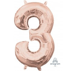 Rose gold foil number balloon - small