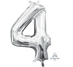 Silver foil number balloon - small