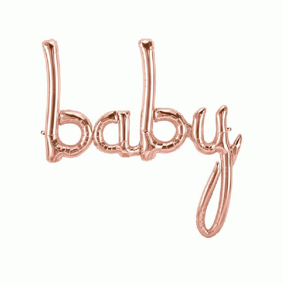 """Baby"" script balloon - large - rose gold"