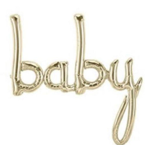 """Baby"" script balloon - large - gold"
