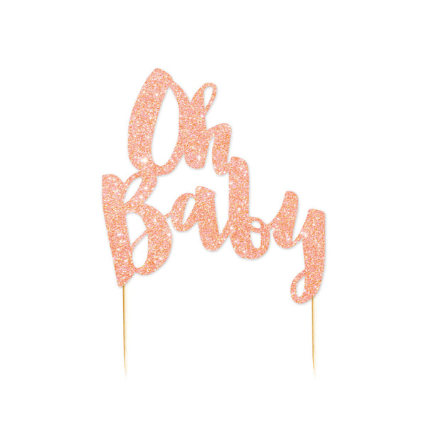 """Oh Baby"" Rose Gold Glitter Cake Topper - 1 Pce - Illume Partyware"