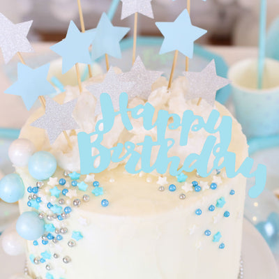 """Happy Birthday"" Blue Cake Topper - 1 Pce - Illume Partyware"