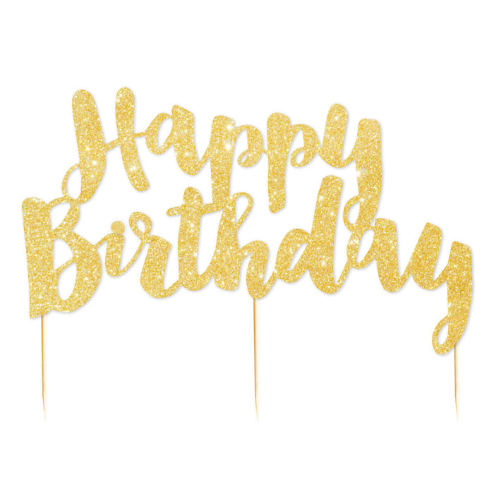 """Happy Birthday"" Gold Glitter Cake Topper - Illume Partyware"