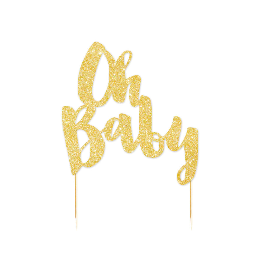 """Oh Baby"" Gold Glitter Cake Topper - 1 Pce - Illume Partyware"