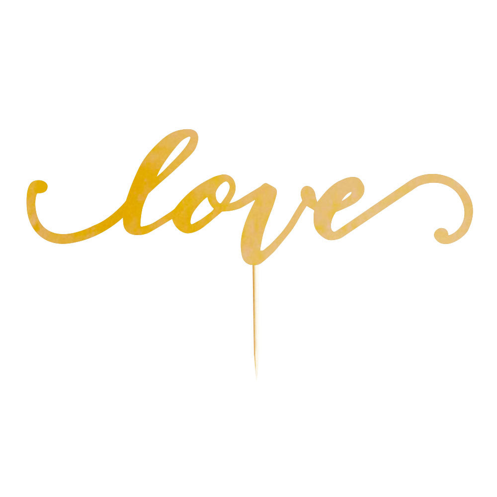 """Love"" Gold Cake Topper - 1 Pce - Illume Partyware"