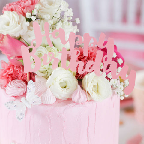 Happy Birthday Pink Cake Topper