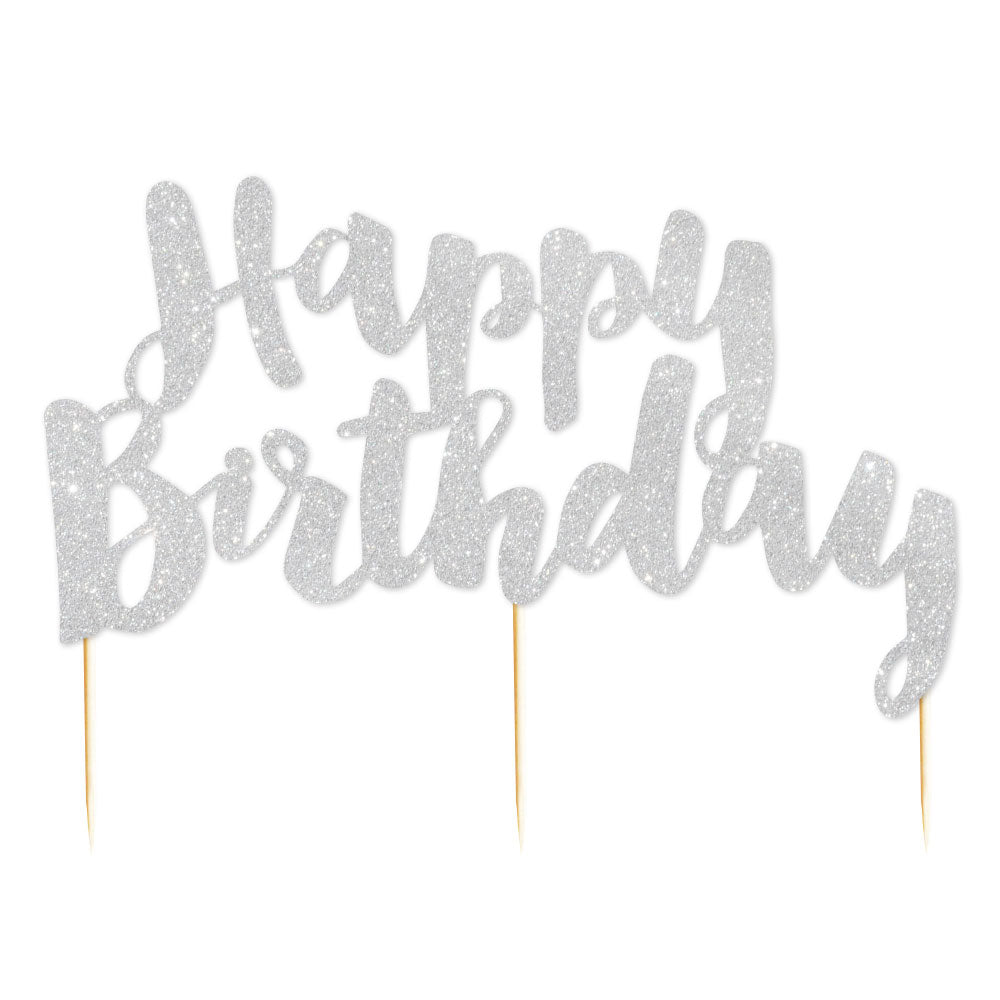 """Happy Birthday"" Silver Glitter Cake Topper - 1 Pce - Illume Partyware"