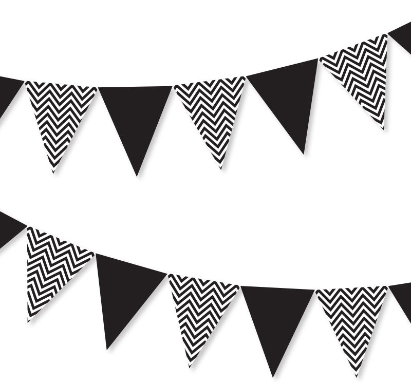 Chevron Black and White Bunting - Illume Partyware