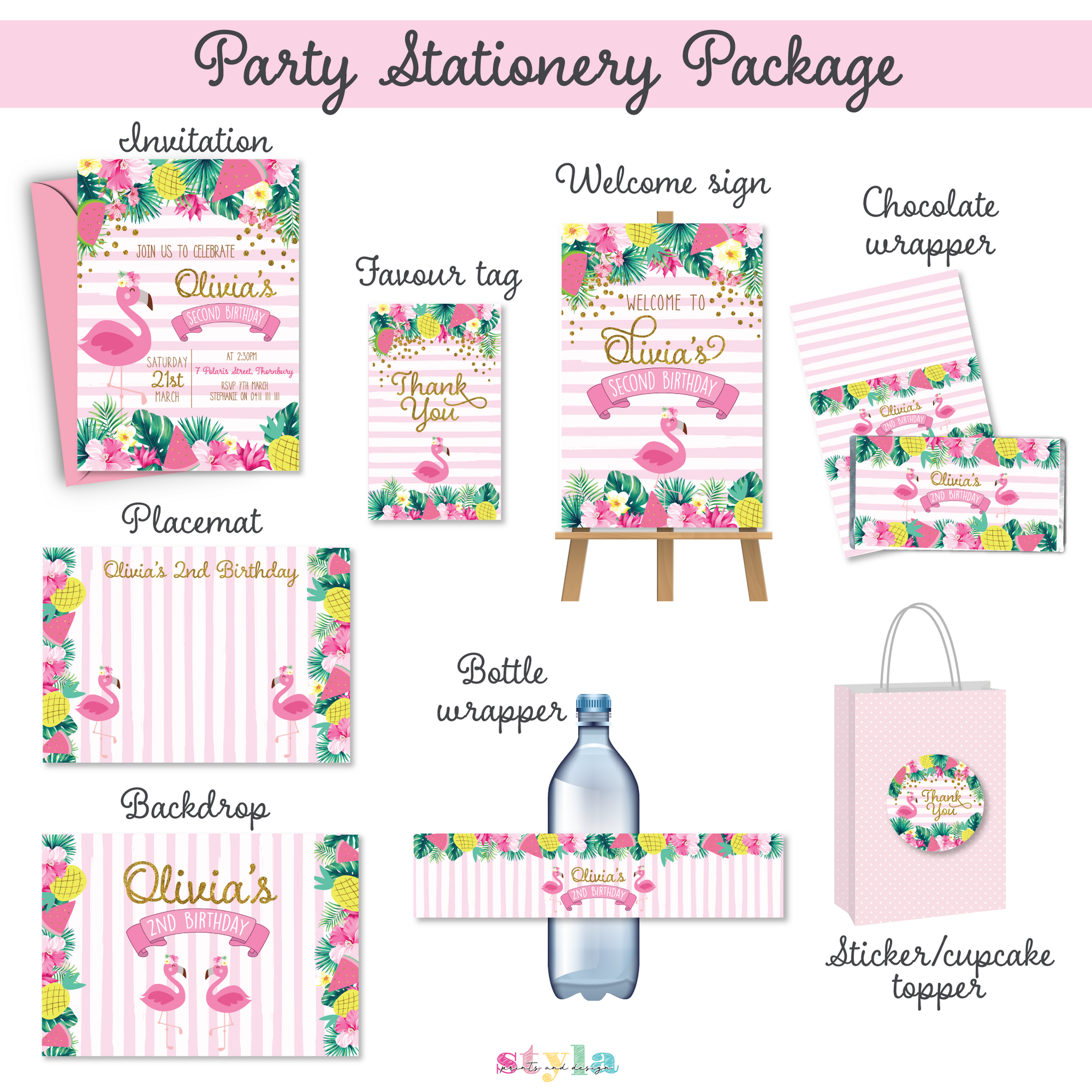 Tropicana - Personalised Stationery Pack - Digital files