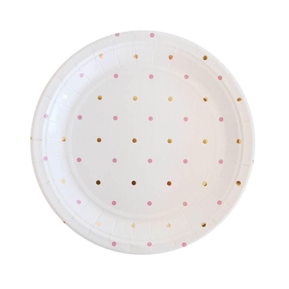 Gold & Pink Spots Dessert Plate - Pack of 10 - Illume Partyware