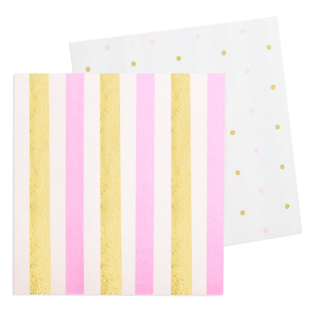 Gold & Pink, Stripe & Spots Cocktail Napkin - Pack of 20 - Illume Partyware