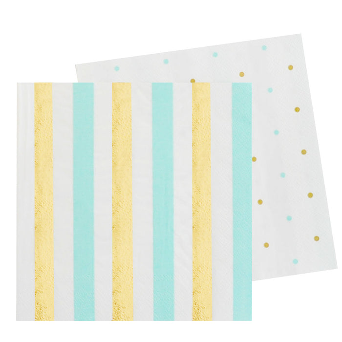Gold & Mint Stripes & Spots Luncheon Napkin - Pack of 20 - Illume Partyware