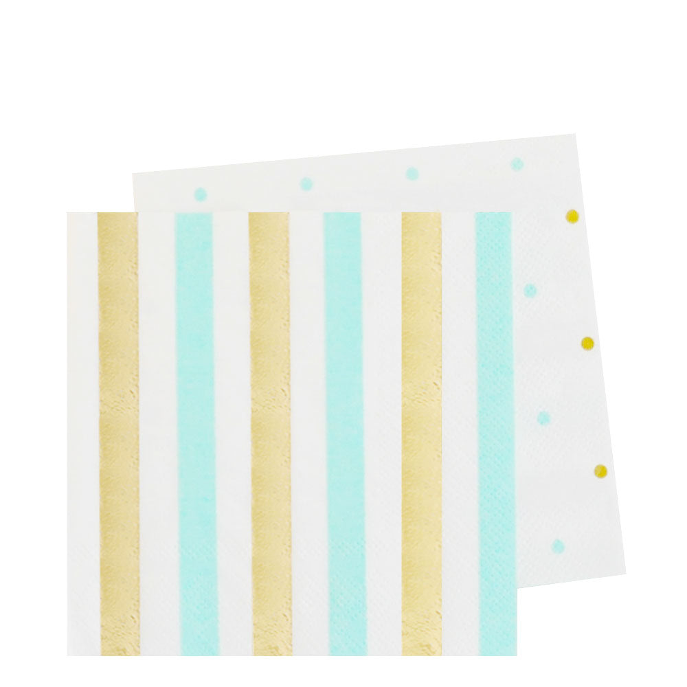 Gold & Mint Stripe & Spots Cocktail Napkin - Pack of 20 - Illume Partyware