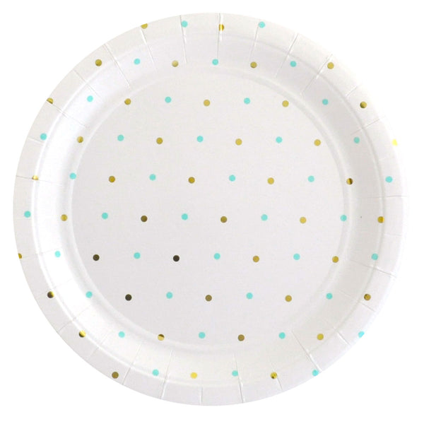 Gold & Mint Spots Large Plate - Pack of 10 - Illume Partyware