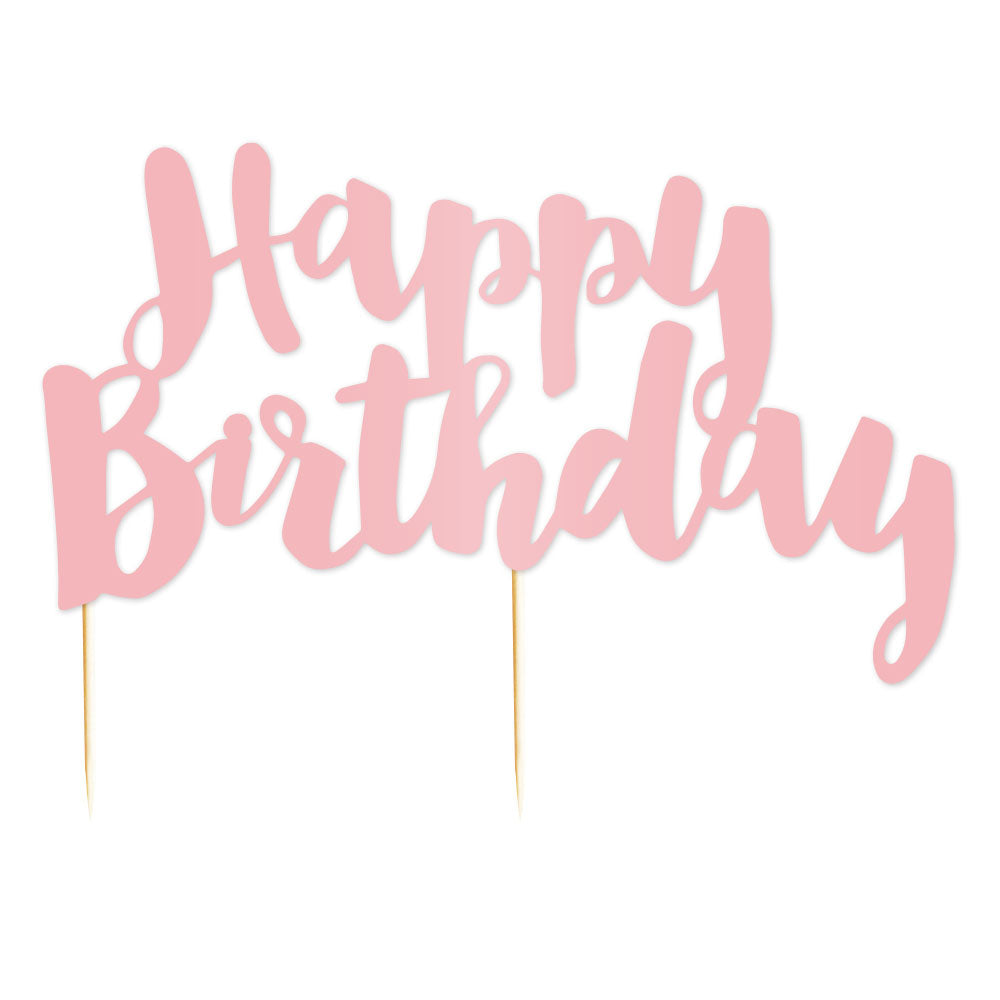 """Happy Birthday"" Pink Cake Topper - 1 Pce - Illume Partyware"