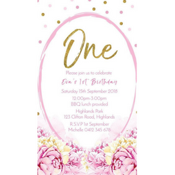 """Pretty in Pink"" Personalised Invitation - Pink and Gold Spots with Flowers - Digital file"