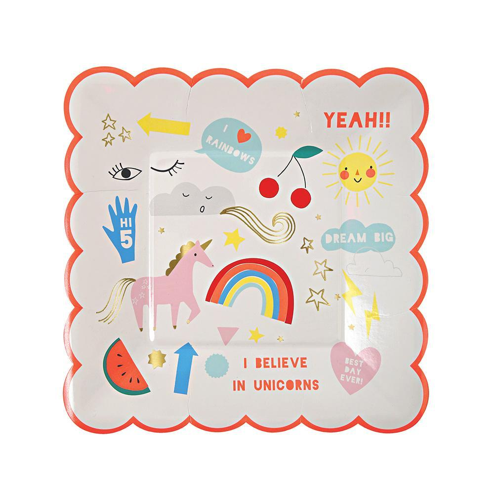 Rainbow & Unicorn Plates (small) - Pack of 8 - Meri Meri