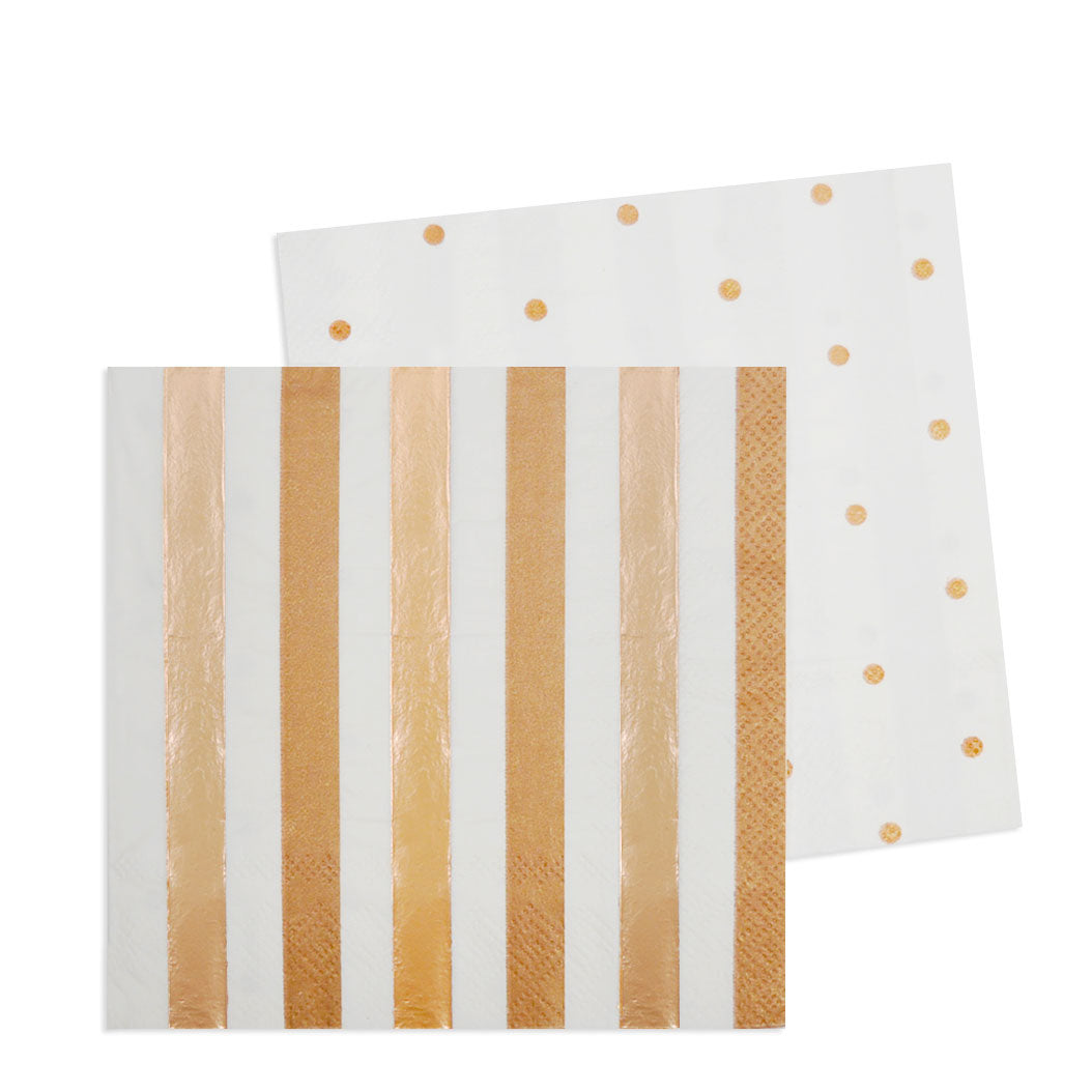 Rose Gold Stripes & Spots Cocktail Napkin - Pack of 20 - Illume Partyware