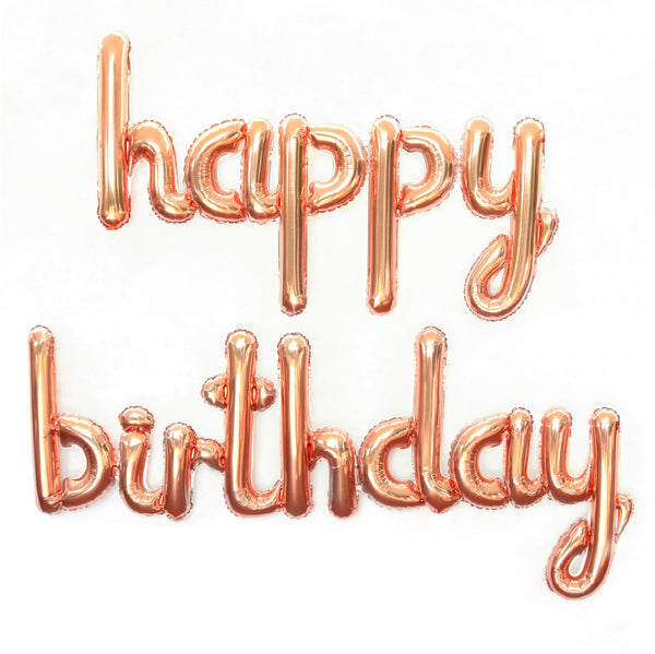 "Rose Gold ""Happy Birthday"" Balloon - Illume Partyware"