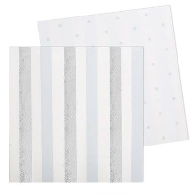 Silver Stripes & Spots Luncheon Napkin - Pack of 20 - Illume Partyware