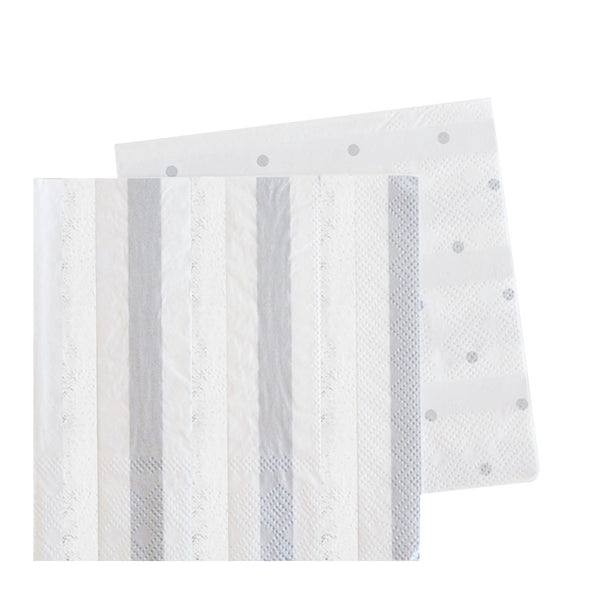Silver Stripes & Dots Cocktail Napkin - Pack of 20 - Illume Partyware