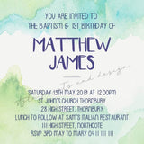 Blue and Green Personalised Invitation - Digital file