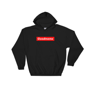 Black hoodie with a red rectangle with the word Goodmeme in white over the red rectangle