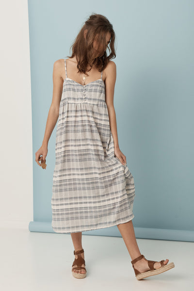 Mademoiselle Day Dress // Blue Gingham Texture
