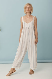 Midsummer Pantsuit // White/ Blue Stripe