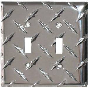 Performance World 12 Diamond Chrome Double Light Switch Cover