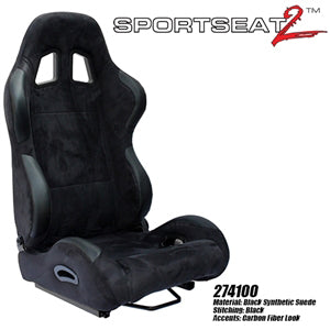 Performance World 274100 SportSeat2  Racing Black Synthetic Suede