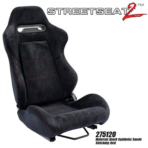 Performance World 275120 StreetSeat2  Racing Black Synthetic Suede with Red Stitching