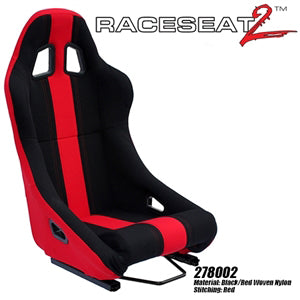 Performance World 278002 RaceSeat2  Racing Black Nylon Red Accents
