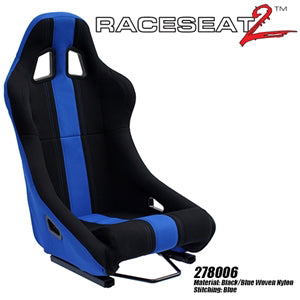 Performance World 278006 RaceSeat2  Racing Black Nylon Blue Accents