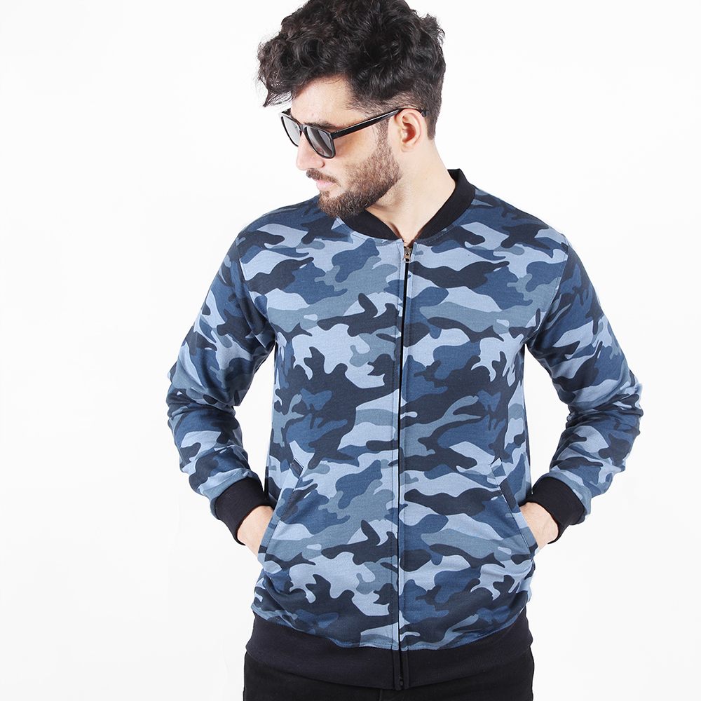 BLUE-CAMO BOMBER JACKET