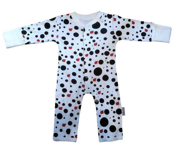 Dotty Ladybird Organic Cotton Babygrow with Integral Scratch Mitts