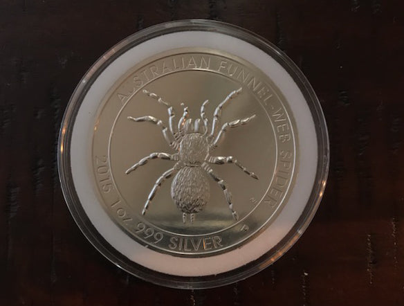 1 oz Silver funnel Web Spider coin