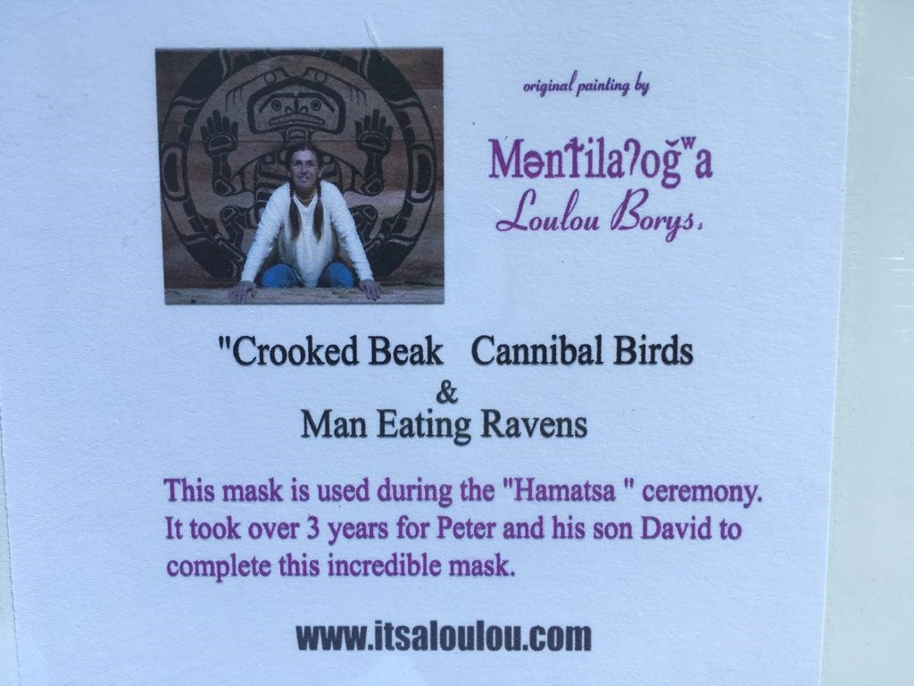 "Loulou Bory's ""Crooked Beak Cannibal Birds & Man Eating Raven"" Print Under Original Plastic 13"" x 19"