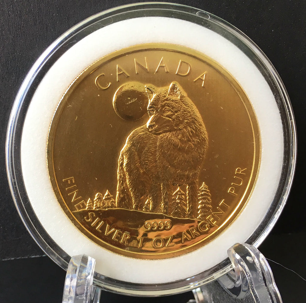 2011 Timber Wolf coin Gold Gilded