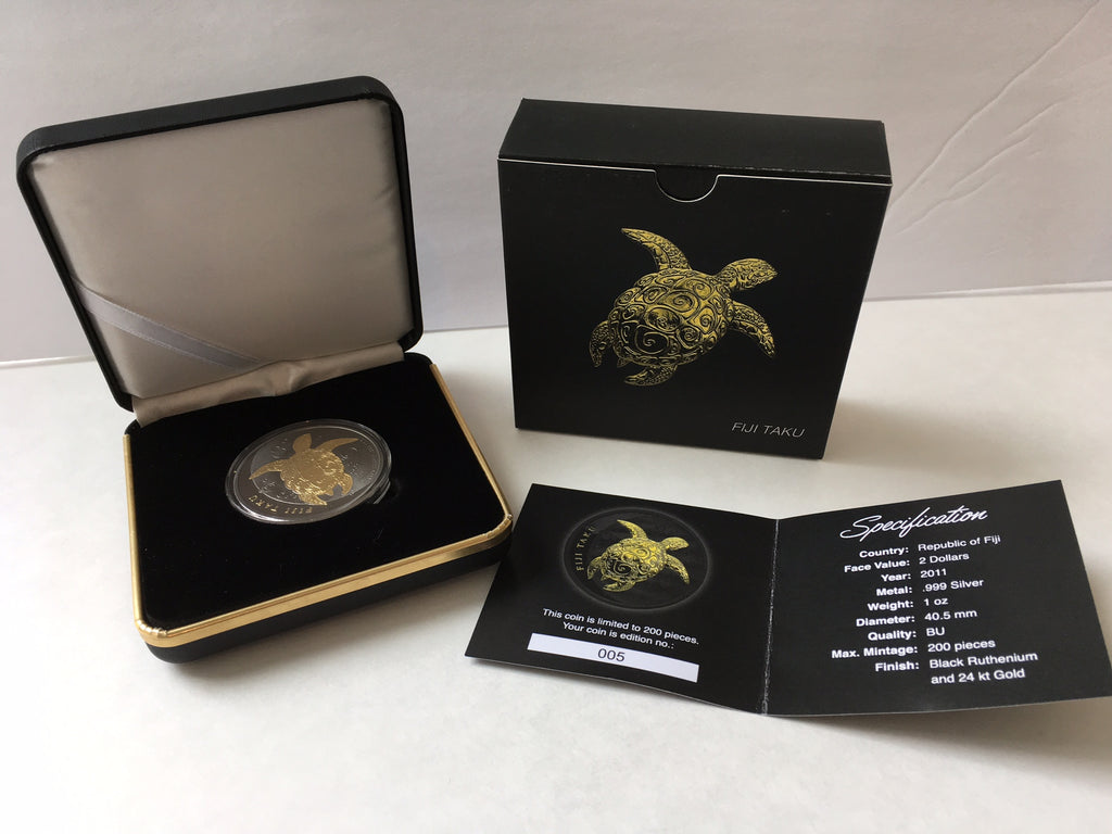 ZS - 2011 Fiji 1 oz Silver Taku Turtle Hawksbill Black Ruthenium 24K Gold Gilded