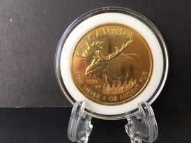 24K Gold Gilded 2012 Silver Moose Coin