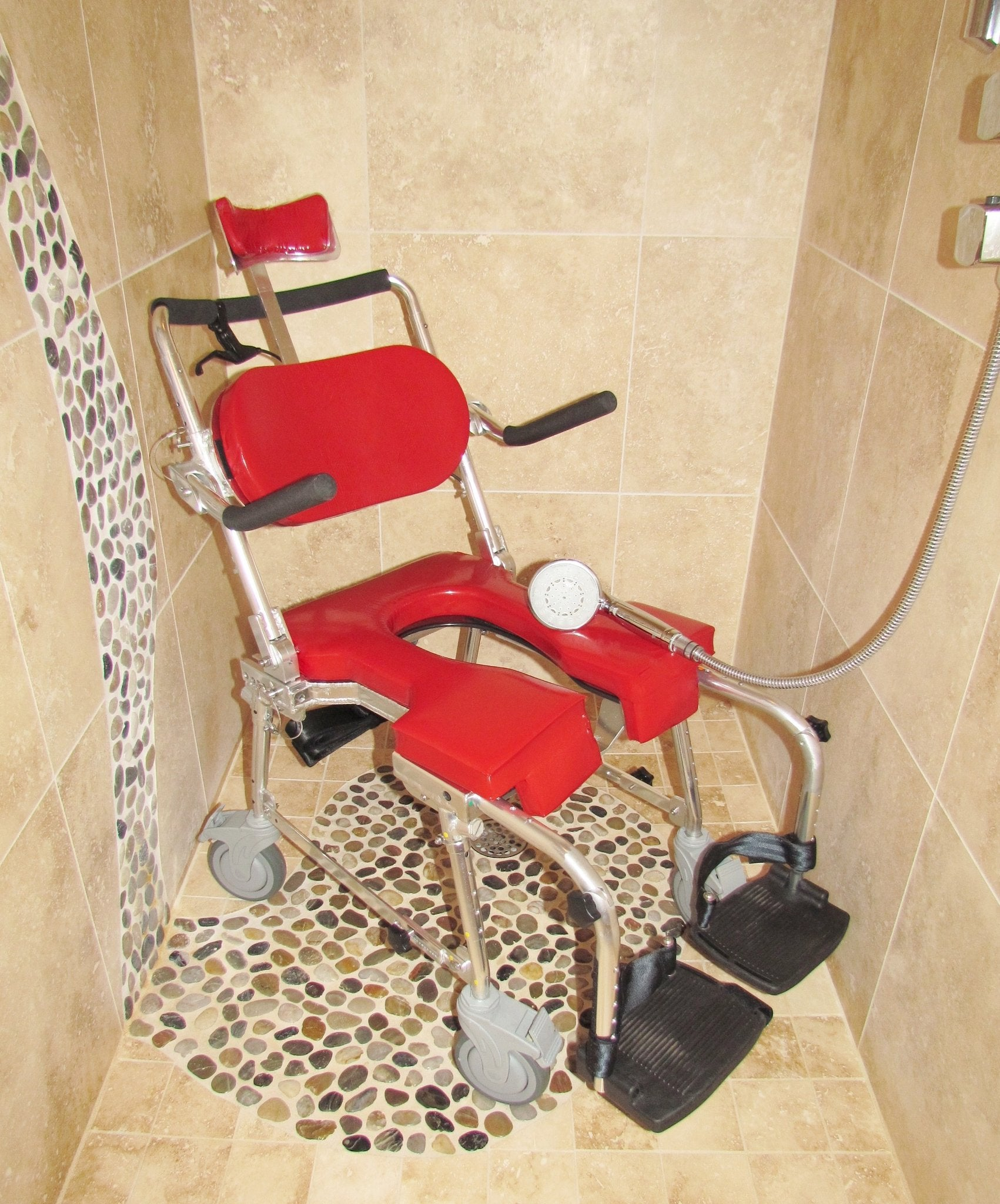 Portable GO-Anywhere Commode 'n Shower Chair - Adjustable (CS-A) assembled and in roll-in shower