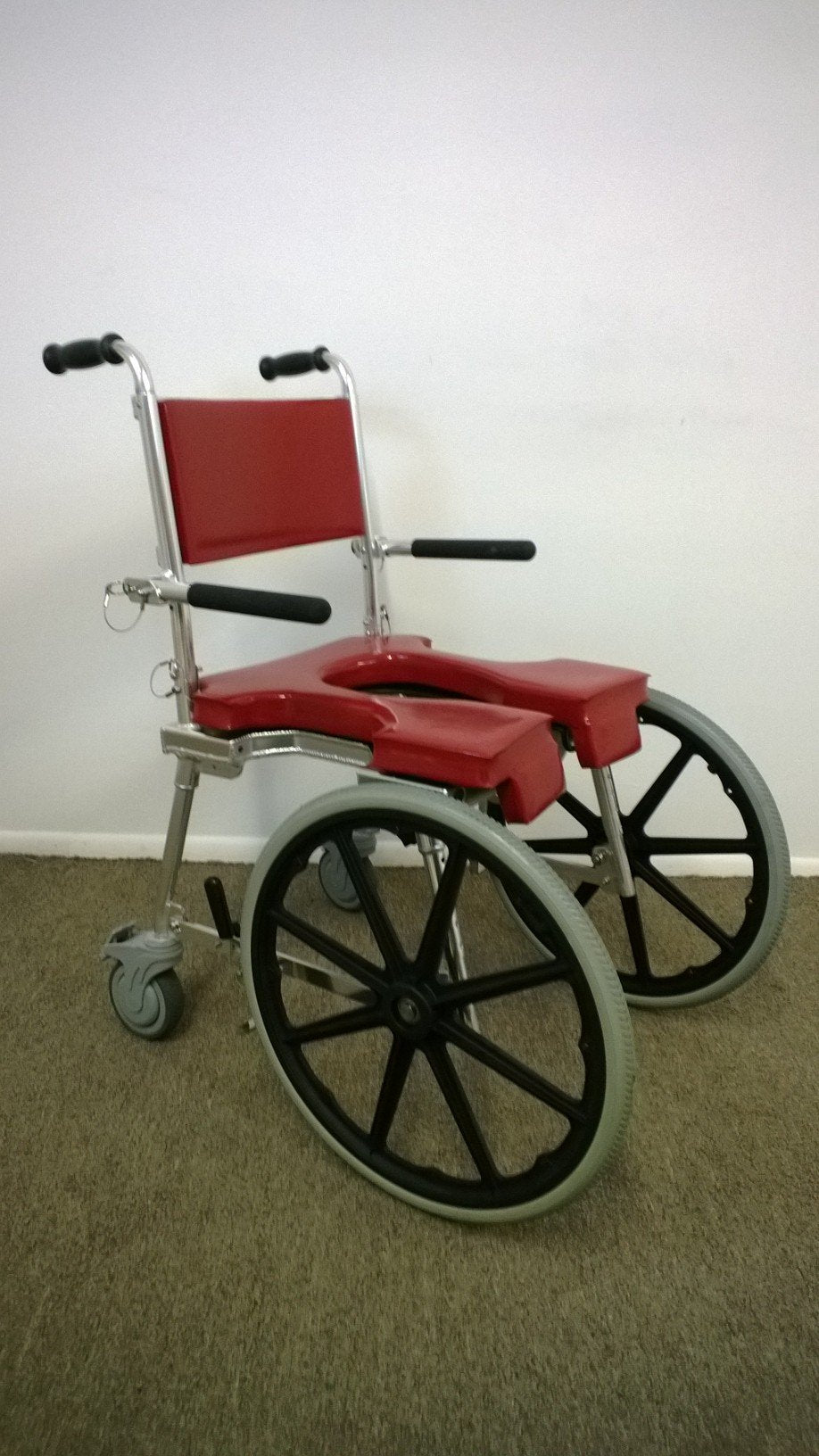 "Portable GO-Anywhere Commode 'n Shower Chair – Self-Propel (SP) with 20"" wheels mounted on front"
