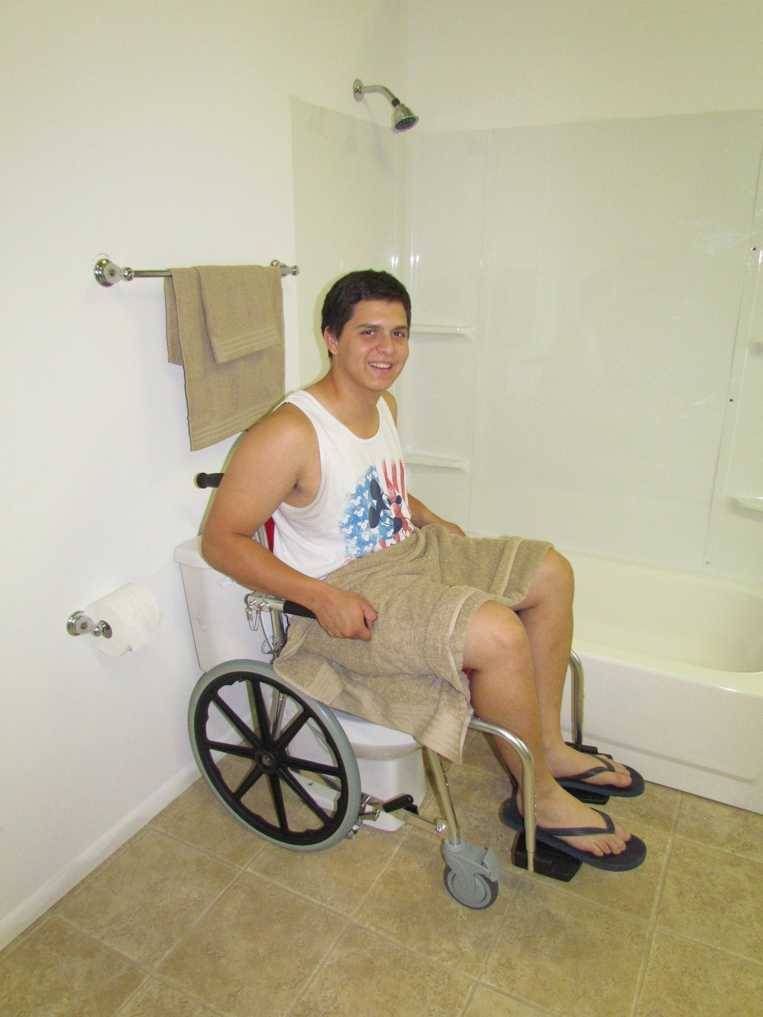 Portable GO-Anywhere Commode 'n Shower Chair – Self-Propel (SP) with user backed over commode