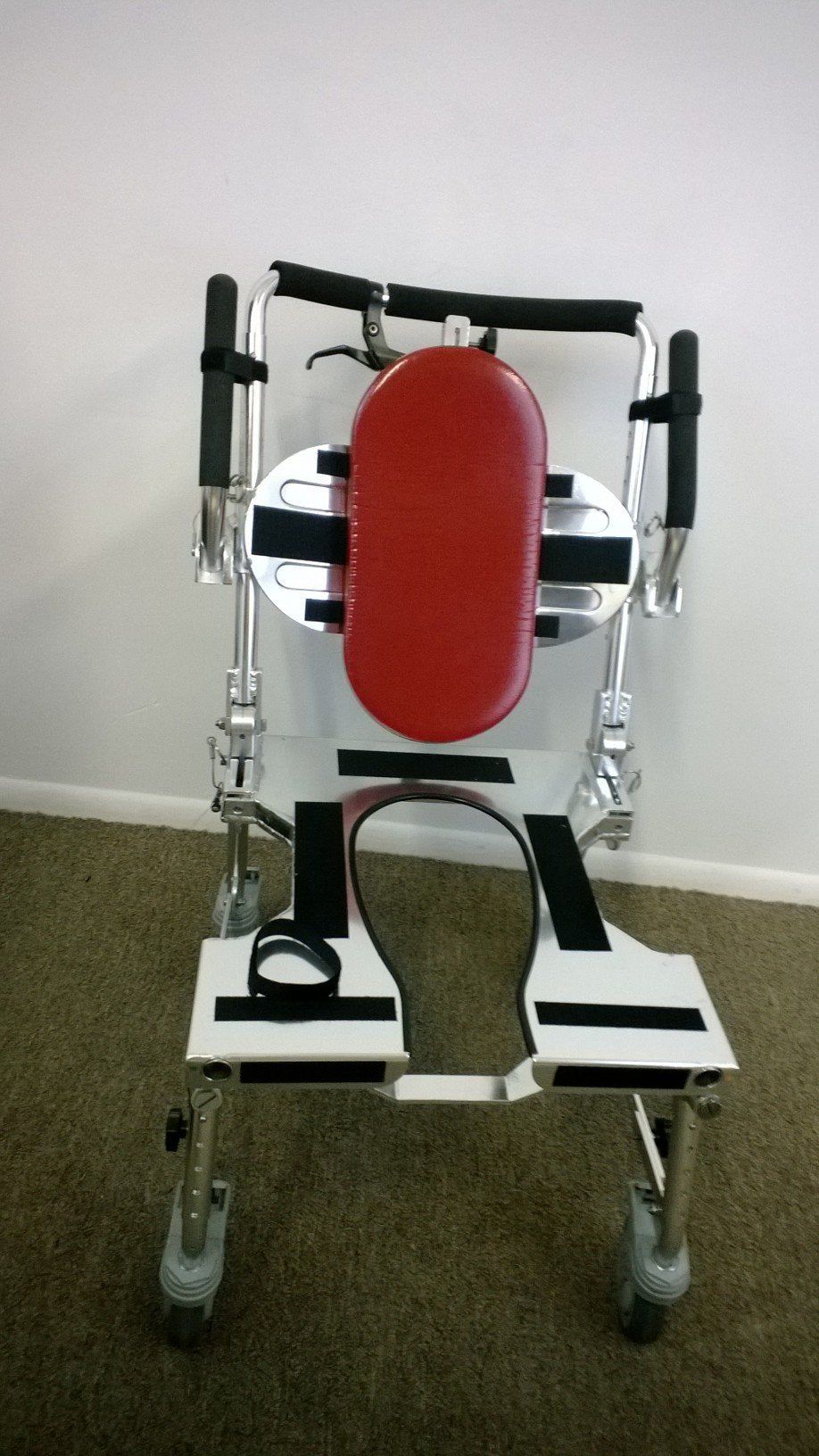 Portable GO-Anywhere Commode 'n Shower Chair - Adjustable (CS-A) ready to be folded and packed in wheeled travel bag