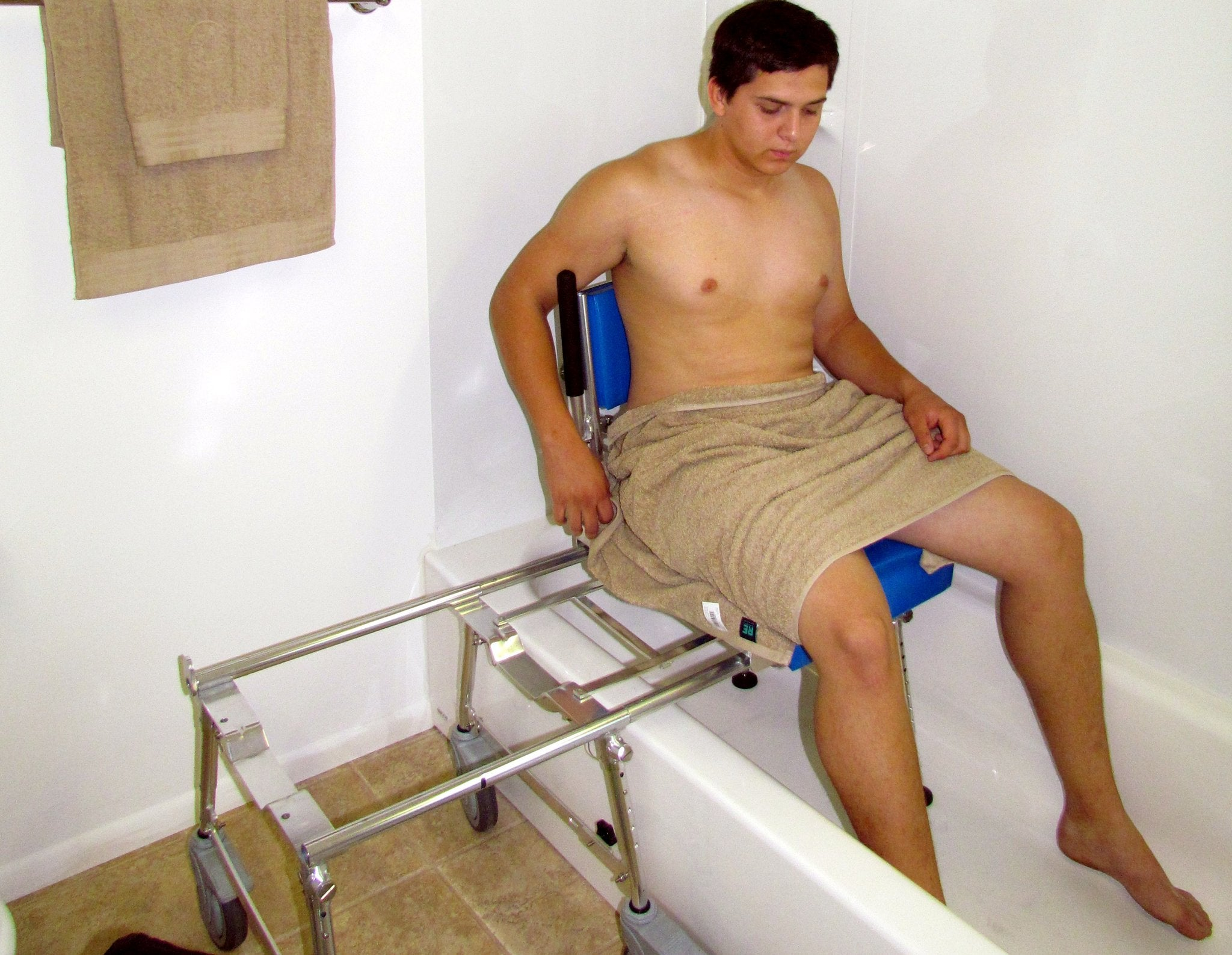 Portable GO-Anywhere Commode, Shower 'n Tub Chair (CST) user inside bathtub