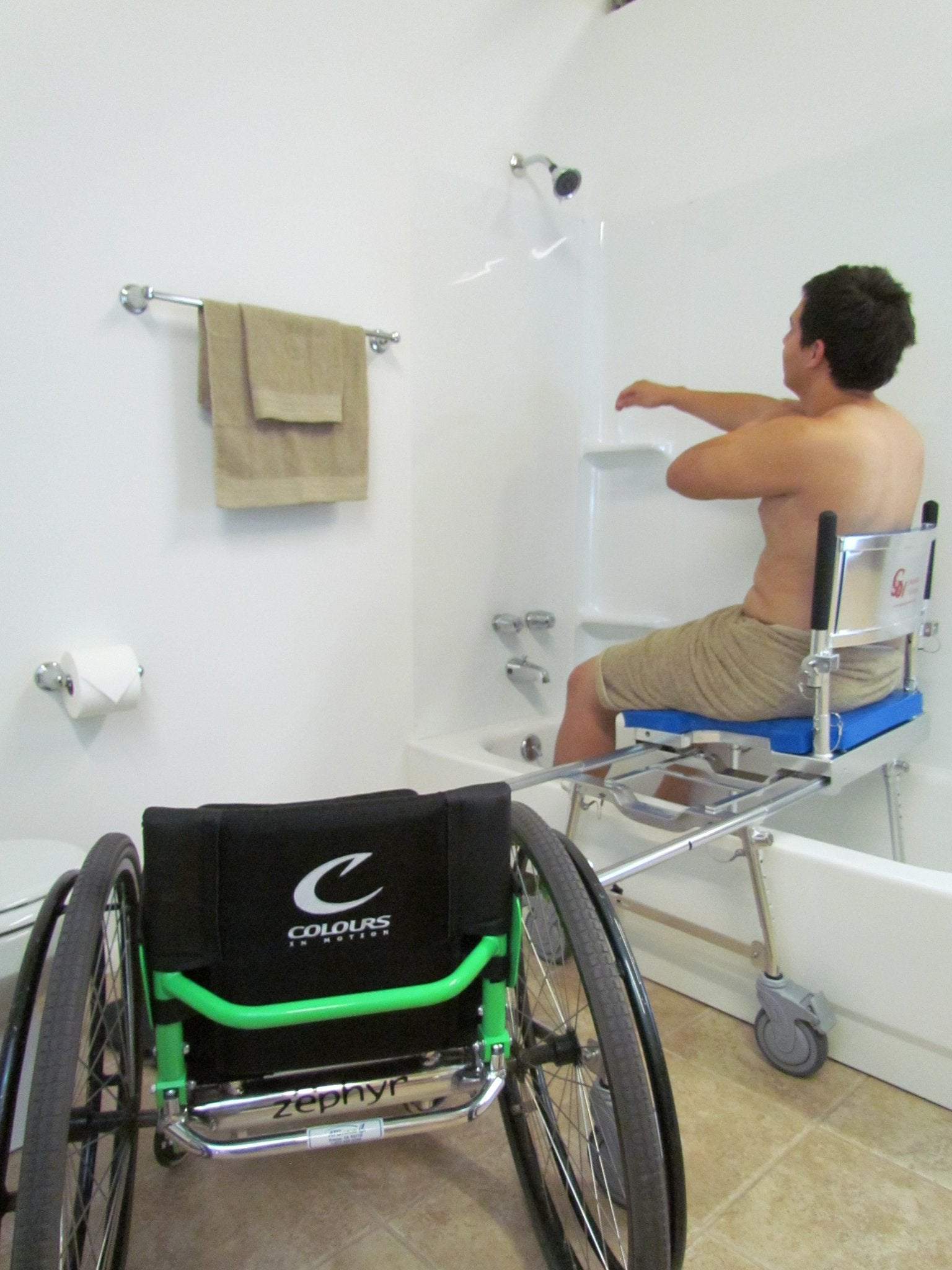 Portable GO-Anywhere Commode, Shower 'n Tub Chair (CST) user showering